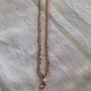 Jewelry - Citrine bead necklace with briolette drop.